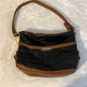 Brown and black leather shoulder strap purse